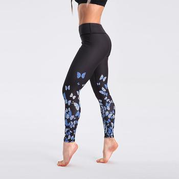 Qickitout 12% Spandex High Waist Digital Printed Fitness Leggings Push Up Sport GYM Leggings Women 12