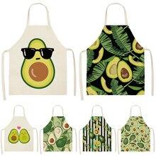 Avocado Tropical Printed Cotton Linen Apron Kitchen Women Baking Waist Bib Home Cooking Brief Sleeveless Pinafore 53*65cm L0145