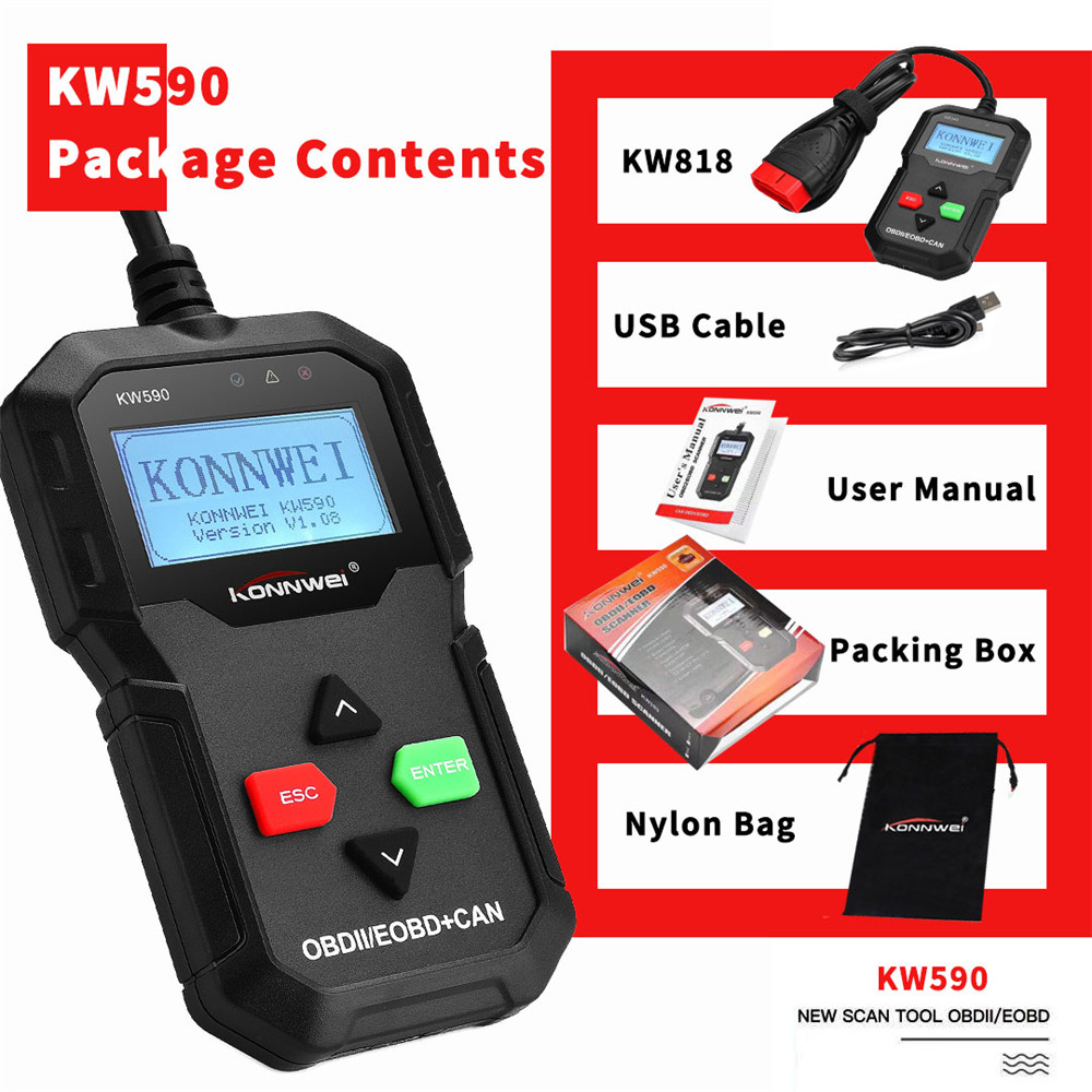 Universal KW590 OBD2 Auto Diagnostic Scanner Black Car Tool ODB2 Check Engine Automotive Code Reader