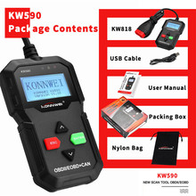 цена на Universal KW590 OBD2 Auto Diagnostic Scanner Black OBD2 Car Diagnostic Tool ODB2 Check Engine Automotive Car Code Reader