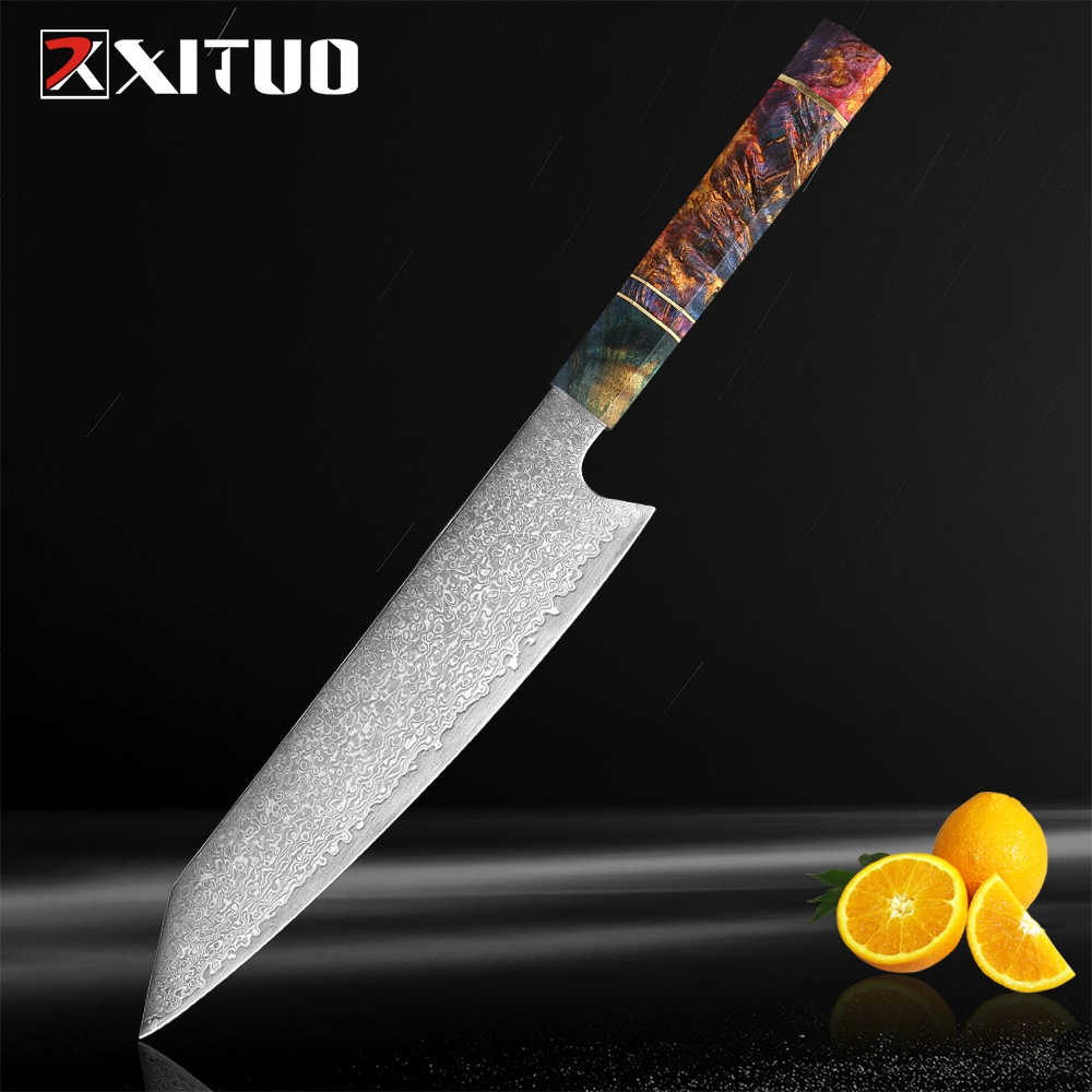 """XITUO Damascus Chef's Knife 8""""inch Japanese Damascus Steel Salmon Slicing Kitchen knife Meat Cleaver Santoku Solidified Wood HD