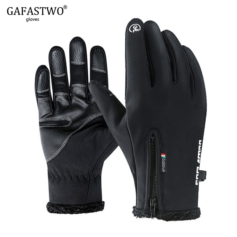 GAFASTWO Winter Warm Man Ski Gloves Women Touch Screen Waterproof Splash-proof Windproof Riding Plus Velvet Thicken Black Gloves