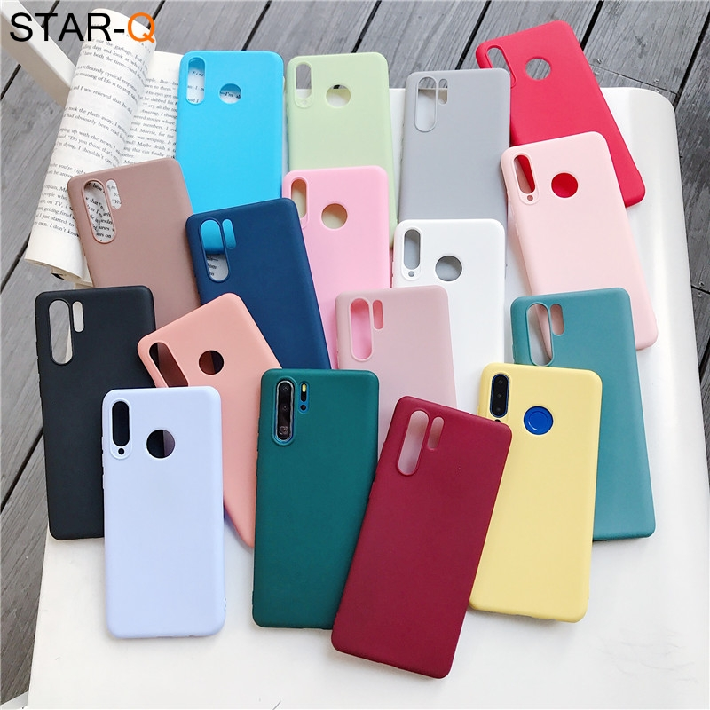 candy color silicone phone case for huawei p30 lite pro p20 lite p10 p smart plus z 2019 2018 matte soft tpu back cover(China)