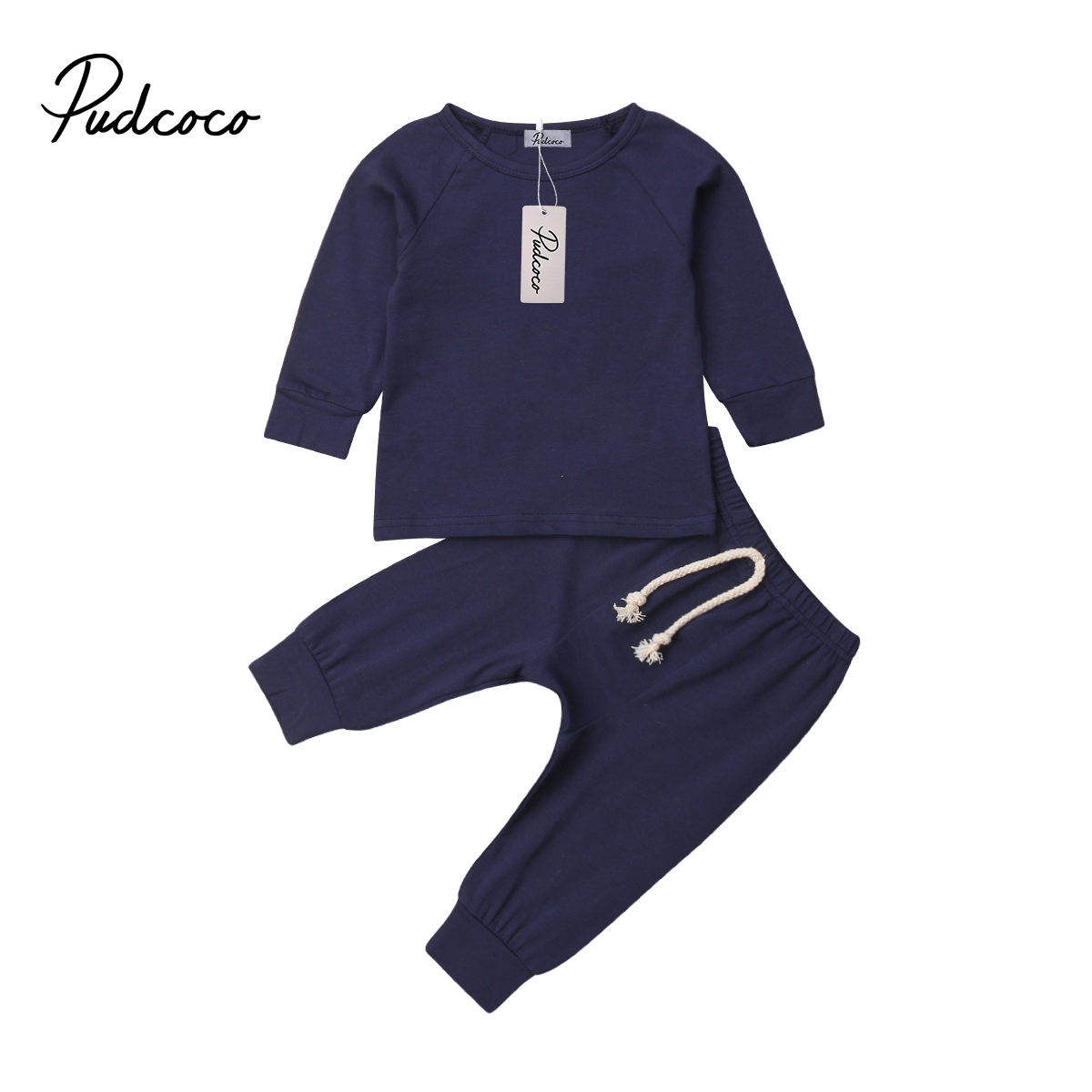 0-2Y Toddler Newborn Infant <font><b>Baby</b></font> Girls Boys <font><b>Clothing</b></font> Set Autumn Long Sleeve T-shirt+ Lace-up Pants Outfits <font><b>Unisex</b></font> <font><b>Baby</b></font> Costumes image