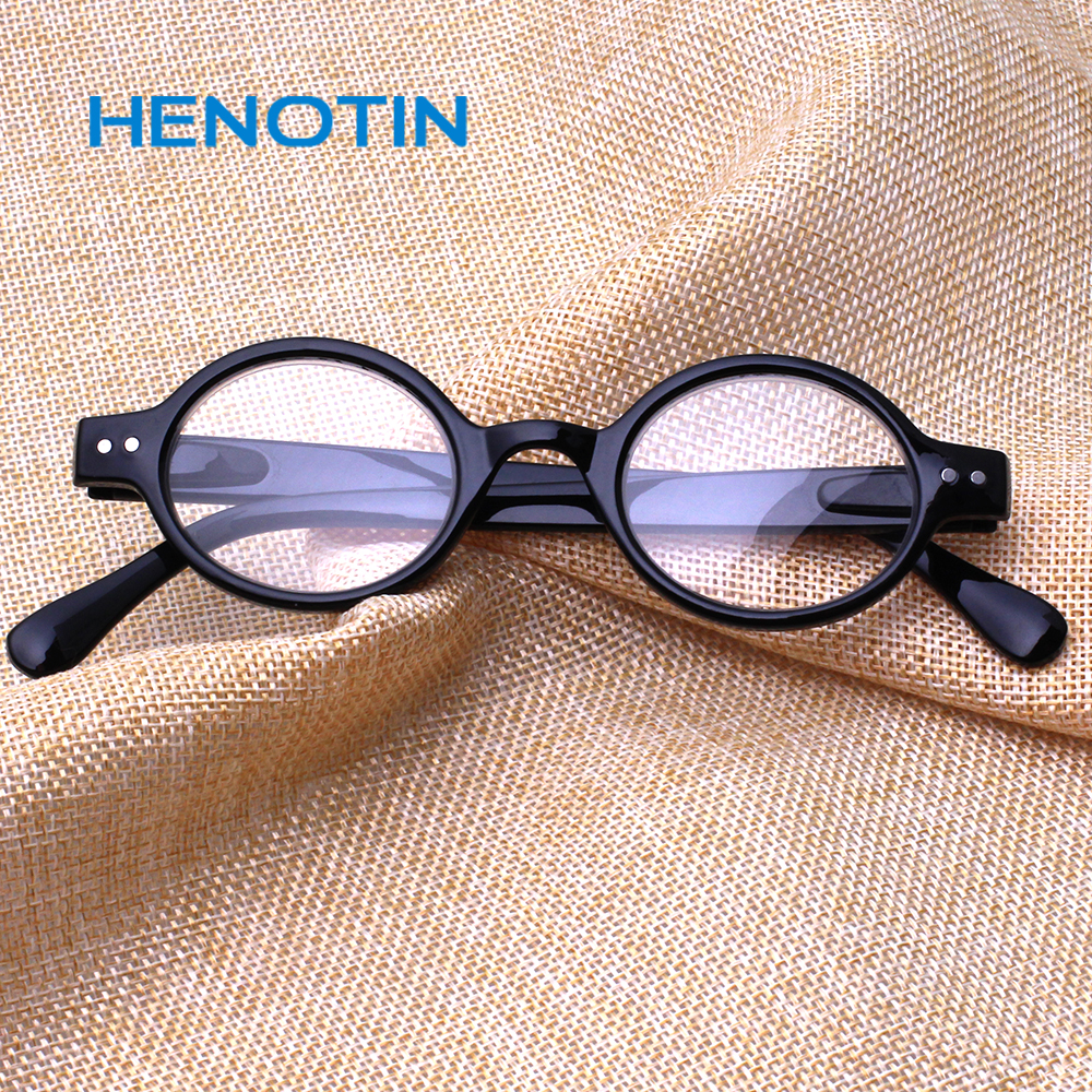 Henotin fashion round reading <font><b>glasses</b></font> spring hinges men's and women's readers <font><b>glasses</b></font> diopter <font><b>0.5</b></font> 1.75 2.0 3.0 4.0 image