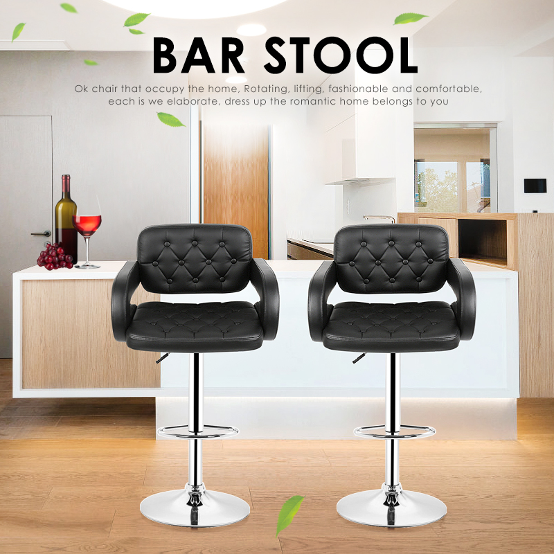 2pcs Adjustable Bar Chair With Backrest Stool Swivel Pneumatic Counter Pub With Handrails Shipping From France HWC