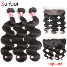 Frontal-Closure Human-Hair-Weave-Bundles Remy-Hair Silk 13x4 Peruvian Sunber