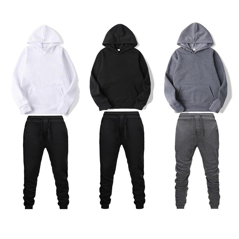 Men's Autumn And Winter Fashion Solid Color Hip Hop Plus Velvet Hooded Sweatshirt Casual Hoodie Suit Street Lothing + Pants