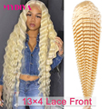 613 Синтетические волосы на кружеве al парик глубокая волна прозрачный кружевной блондинка Синтетические волосы на кружеве парик человеческ...