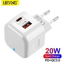 Urvns 2 porto 20w usb c carregador de parede qc3.0 telefone móvel de carregamento rápido tipo-c pd adaptador de viagem para iphone 12 11 pro max xs xiaomi
