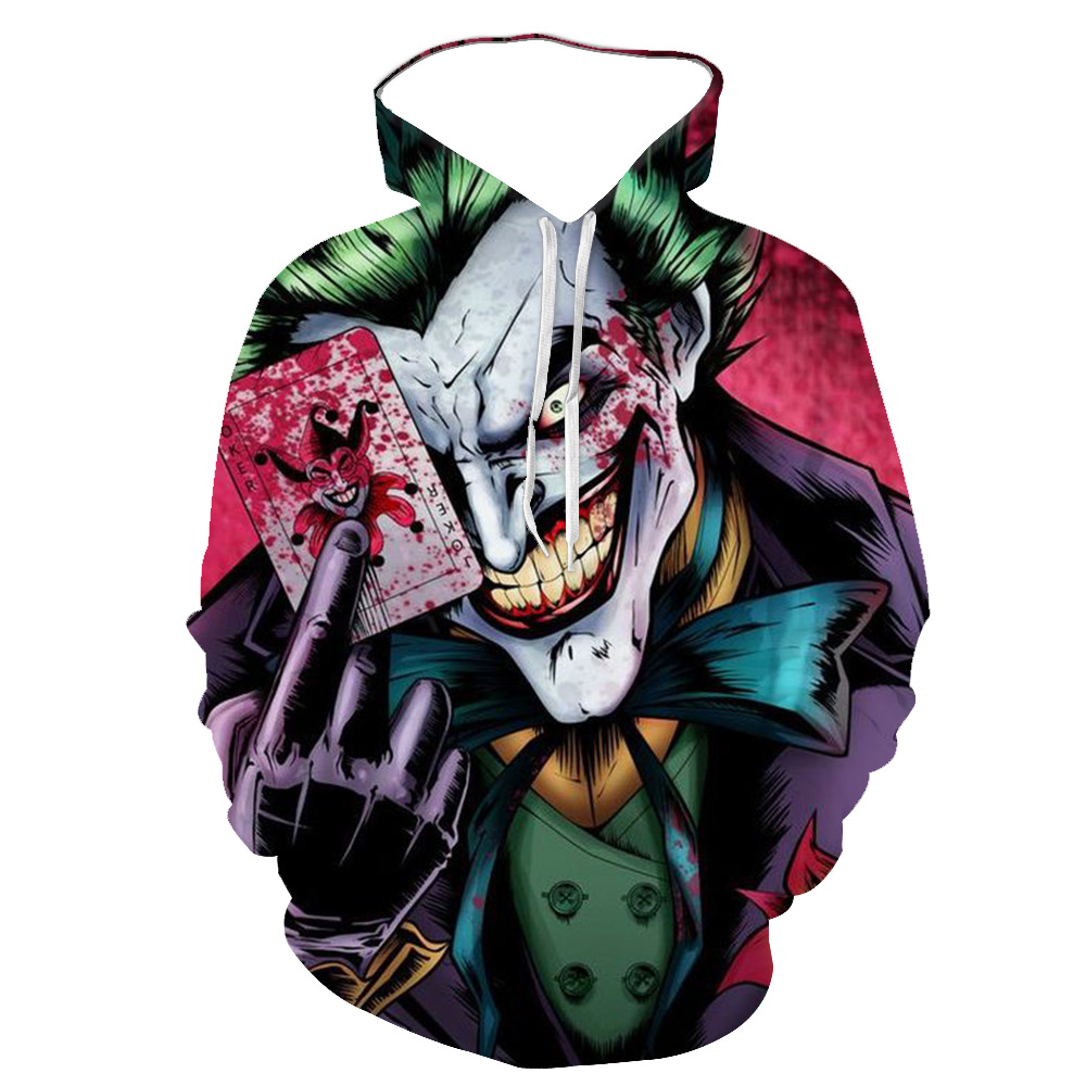 2020 Anime Red Music Clown Joker Hoodie Men Playing cards mask hoodies sweatshirts Plus Size 3D Tie dyeing sueter masculino 6XL(China)