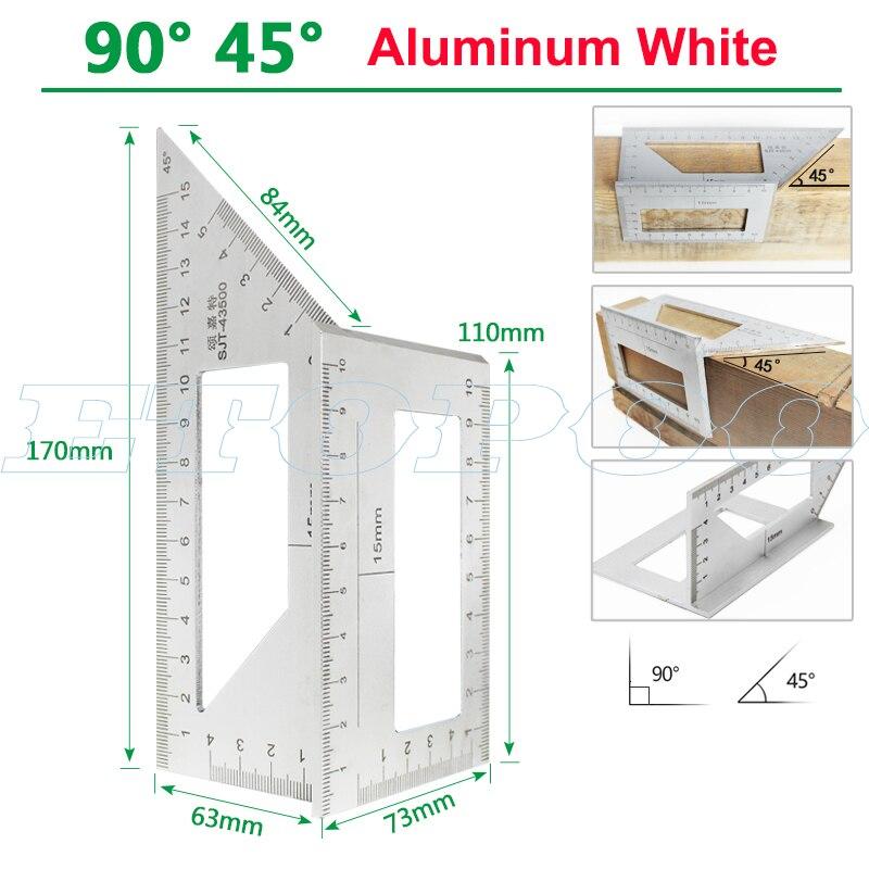 Алюминиевый сплав 45 градусов 90 градусов деревообрабатывающий Многофункциональный квадратный Измеритель угла транспортир над линейкой - Цвет: 90 45 degree white