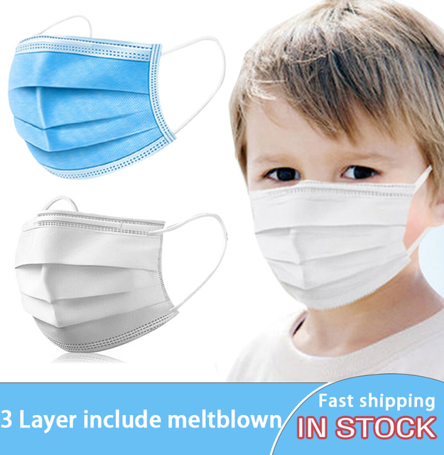 20/50 Pcs Children Face mask 3 Layer Disposable Facemask Kids Child Boys Girls Face Masks 3 Ply Sterile Melt-blown High Quality