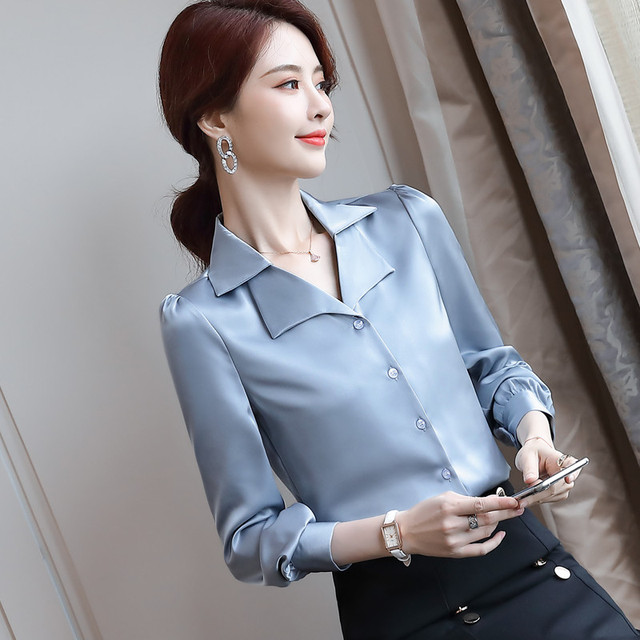 Double Neck Satin Shirt Women Long Sleeve Spring New Temperament Fashion Casual Blouses Office Ladies Formal Work Tops 4