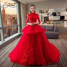 SERMENT Red Luxury Wedding Dress Cathedral Floral Print Lace Up Short Sleeve Ruffles Free Custom Made