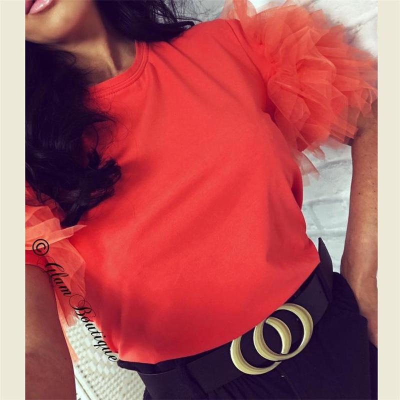 Fashion Women Summer T-Shirt Tops Tee Tulle Mesh Ruffle Short Sleeve T Shirt Ladies Casual Solid Color Vintage Tshirts Tops Tee