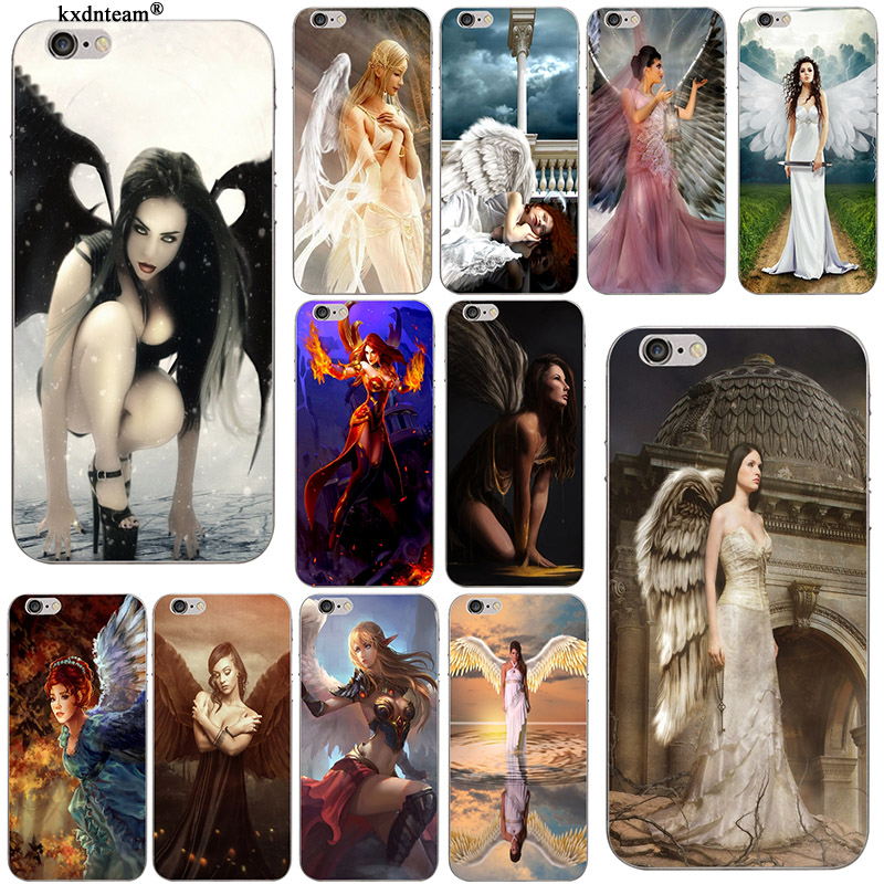 <font><b>Original</b></font> Nice Girl Angel For <font><b>iPhone</b></font> 8 7 6 6S Plus X 5 5S SE <font><b>5C</b></font> 4 Shell Anti-knock Coque New Soft TPU Silicon Phone <font><b>Case</b></font> Cover image
