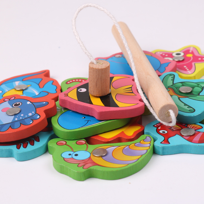 Kids Wooden Magnetic Fishing Game Educational Toys For Children Toy Magnet Fish Games Birthday Gift