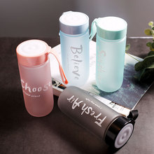 Korean version of the creative trend frosted plastic cups for men and women students couples simple water bottle