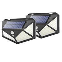 태양 정원 조명 야외 태양 전원 램프 270 학위 100LED PIR 모션 센서 벽 랜턴 방수 마당 보안 램프