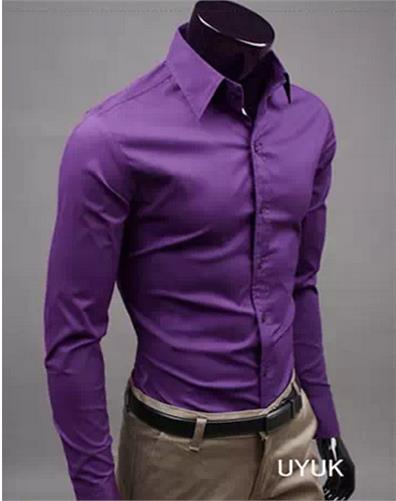 UUYUK Men Slim Fit Long Sleeve Solid Color Stand Collar Casual Shirts