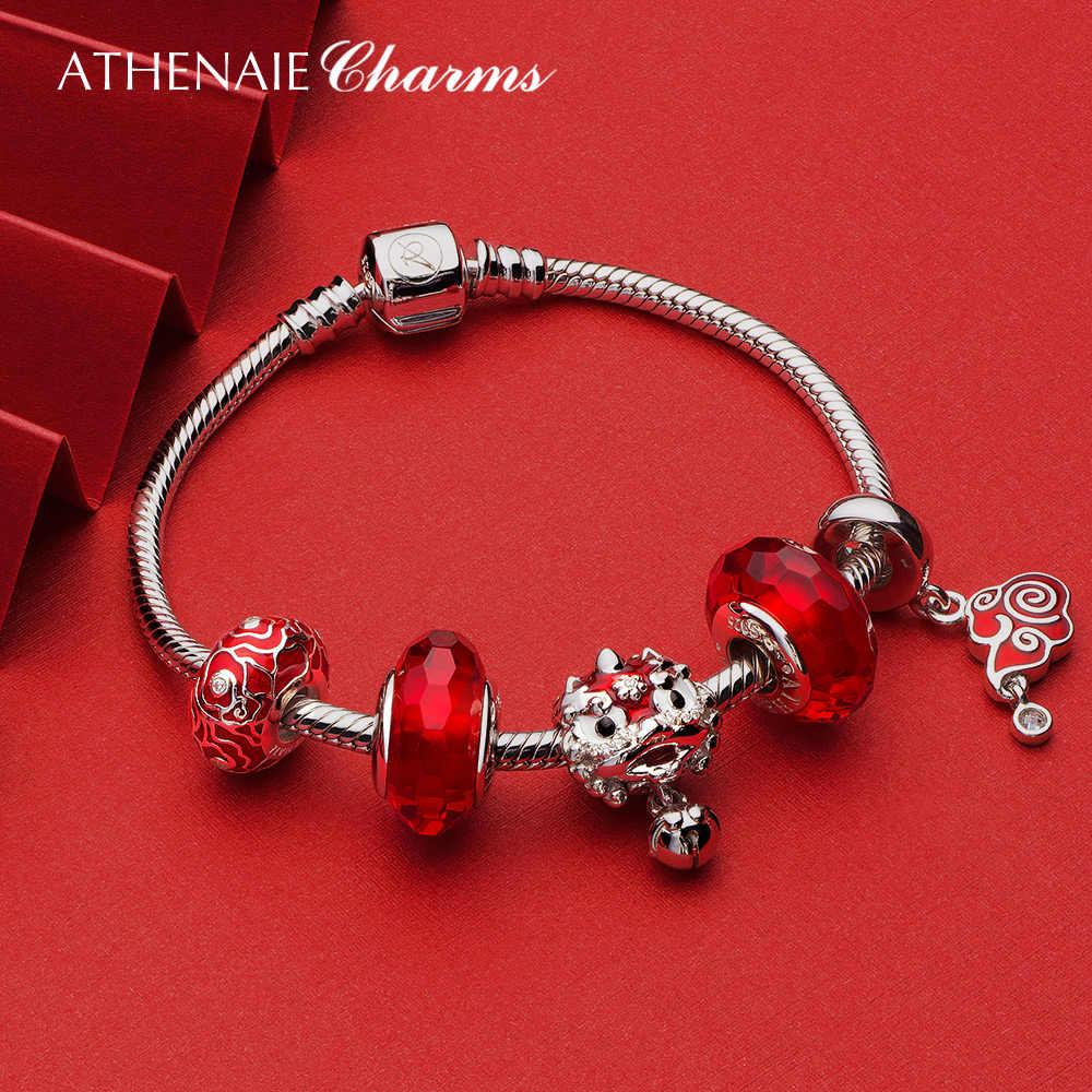 ATHENAIE 925 Sterling srebrny czerwony emalia rocznika chiński szczęście chmura wisiorki koraliki dla kobiet bransoletka naszyjnik boże narodzenie DEAL