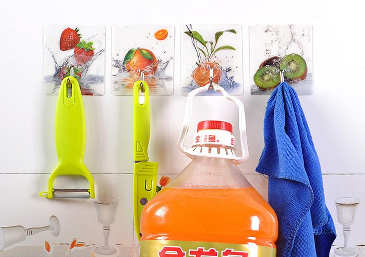 1Pcs Door Bathroom Kitchen Hanger Self Adhesive Hooks Stick On Wall Hanging Hook Random Color