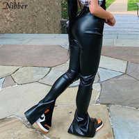 Nibber-pantalones pitillo apilados de cuero PU para mujer, color negro, estilo Y2K, pantalones ajustados de Diseño de lujo populares para Otoño e Invierno
