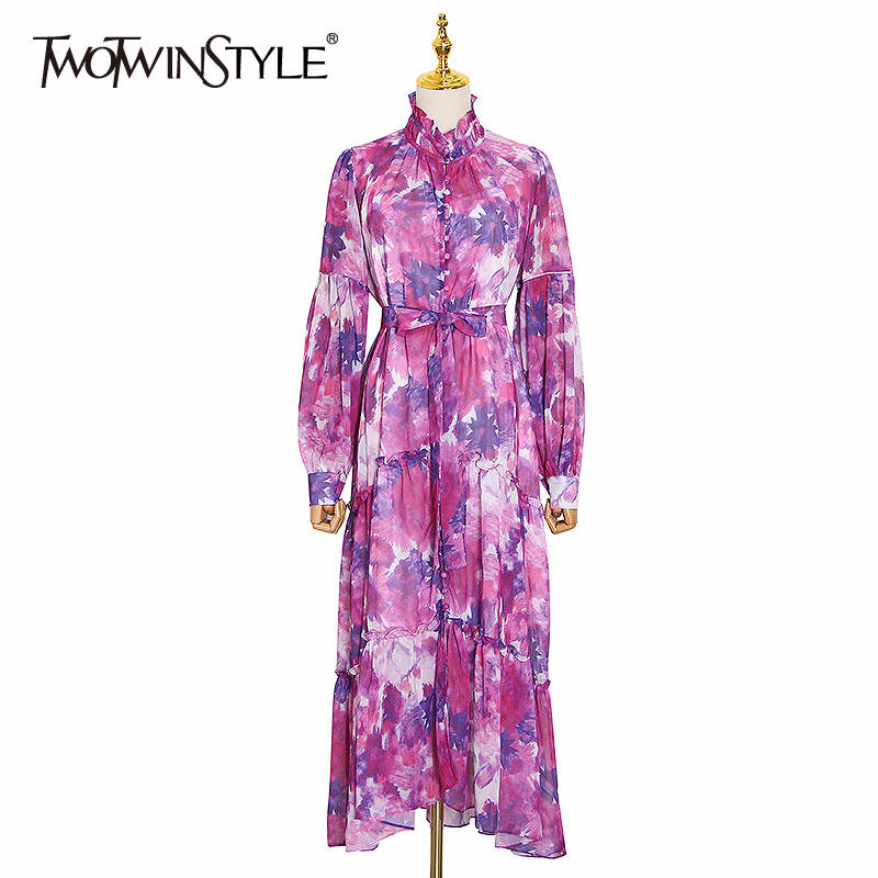 TWOTWINSTYLE Print Hit Color Women's Dress Stand Collar Lantern Sleeve Lace Up Maxi Dresses Women 2020 Summer Fashion Clothes