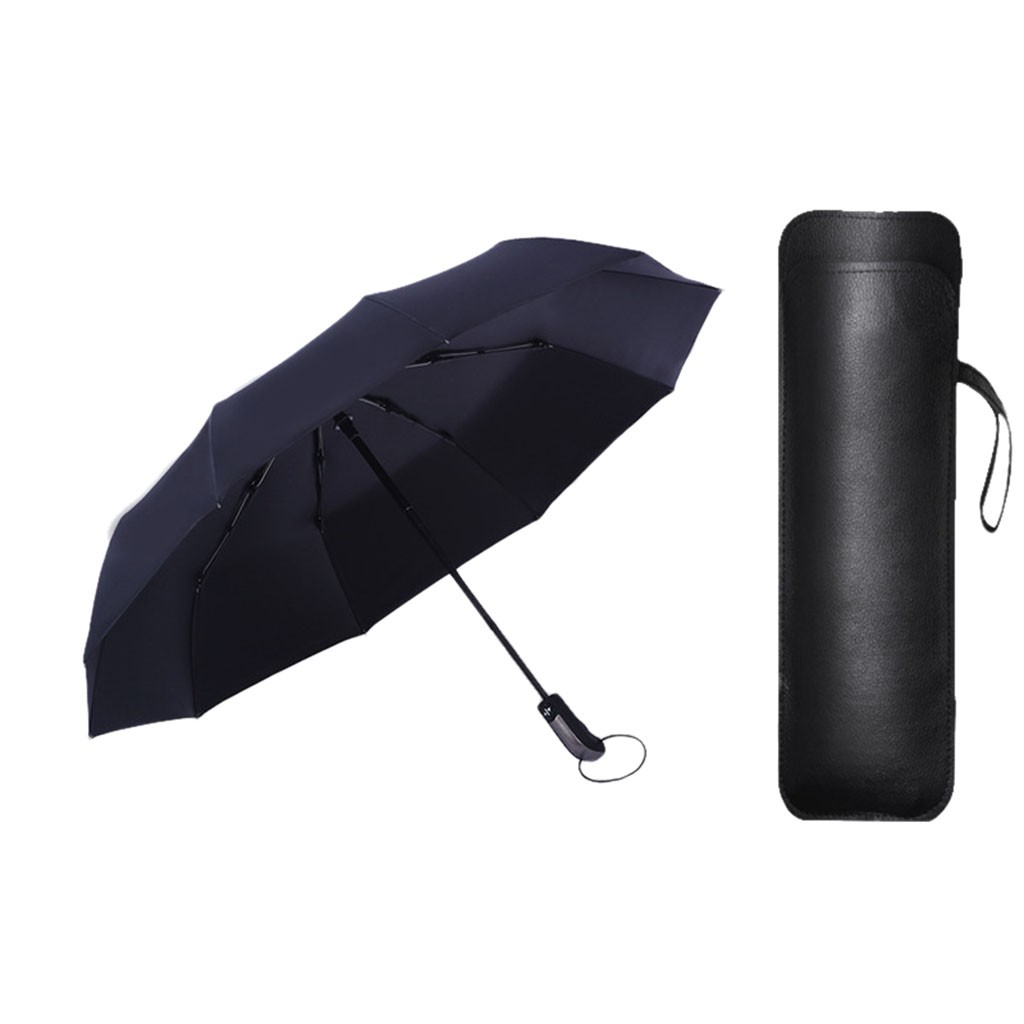 12 Ribs Windproof Travel Umbrella With Canopy Lengthened Handle With Auto Open Close Button Compact Protection Parasol Rain Gear