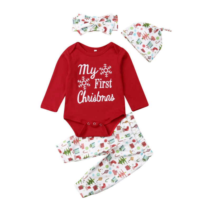 3-18M Christmas Newborn Baby Boys Clothes Set My First Christmas Red Romper + Pants Hat Headband Baby Xmas Costumes Autumn