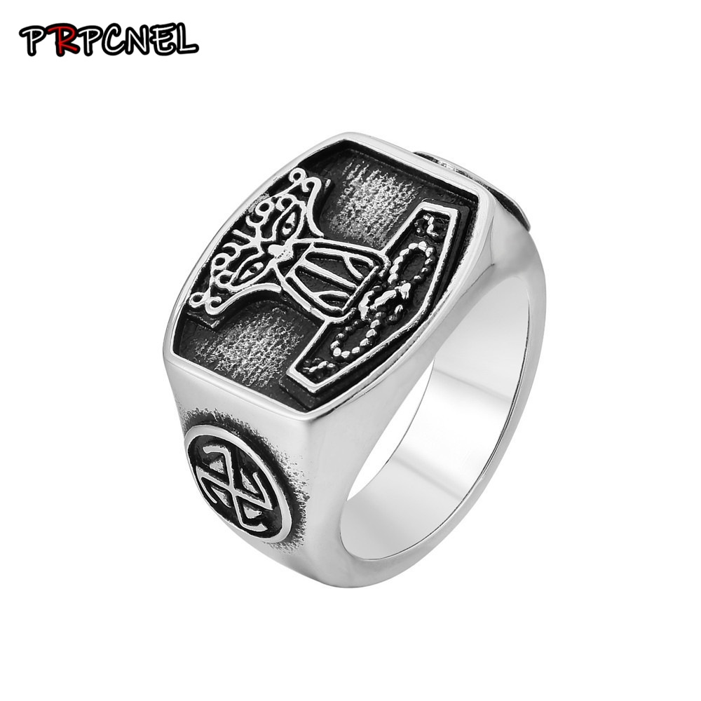 New Tribal Symbol Myth Thor Hammer Ring 316L Stainless Steel Jewelry Knot Ring Norse Viking Motor Biker Men Ring(China)