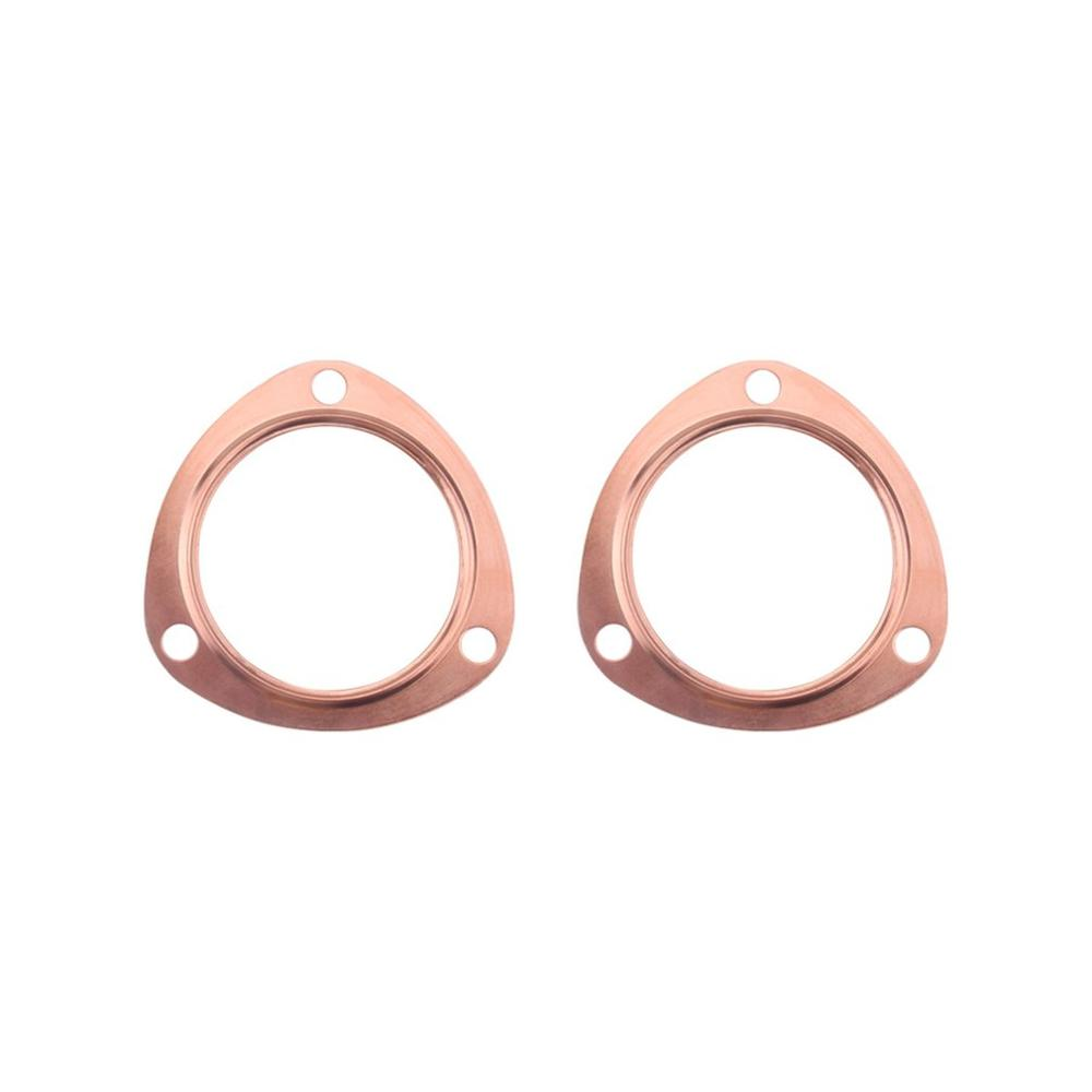 Juntas de colector de escape de cobre de 3 pulgadas reutilizables para SBC 302 350 454 383 se adapta a todos los colector de 3 pulgadas con triángulo