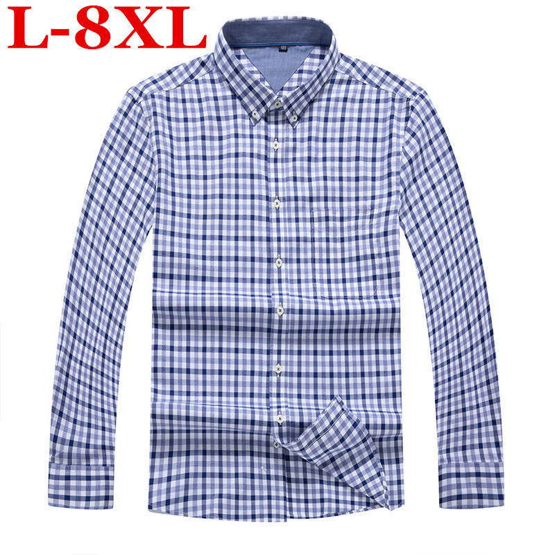 Plus Size 8XL 7XL 6XL  Autumn Men Flannel Plaid Shirt 100% Cotton Casual Long Sleeve Shirt Slim Fit Styles Brand Man Clothes