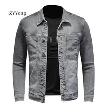 ZYYong High Street Men's Jacket Smoky Grey High Elastic Men's Denim Jacket Cotton Comfortable Lapel Bomber Denim Jacket Men