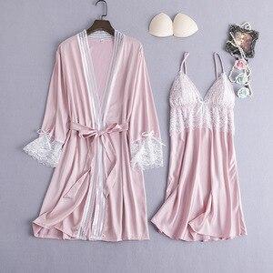 Image 5 - בורגונדי נשים הלבשת 2pcs פיג מה סט סקסי צווארון V קיץ בגדי בית Nightwear תחרה פרח שמלת חלוק שינה חליפת חלוק