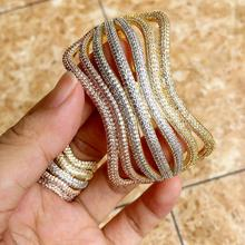 Newness Luxury Line Special Design Shiny Rhinestone Copper Rings Bangle Set Engagement Wide Large Bangles For Women Bijoux