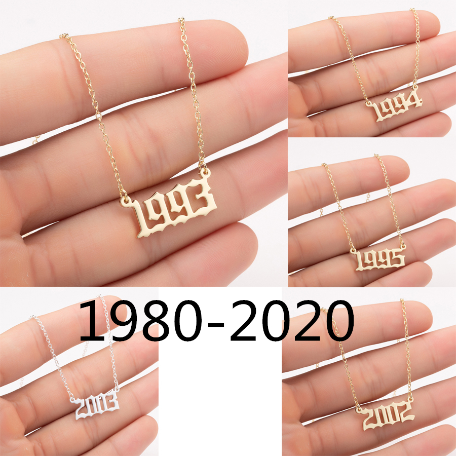 Oly2u 1980-2020 Year Number Necklaces Stainless Steel Gold Color Custom Birth Year Pendant Necklaces Friends Gifts Wholesale(China)