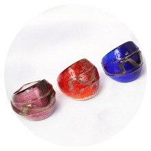 QianBei Neue Schmuck Gold Glas Ring Frauen Handgemachte Transluzenten Murano Ring Männer schwarz Weiß Gelb Blau Großhandel Gemischt 12 stücke