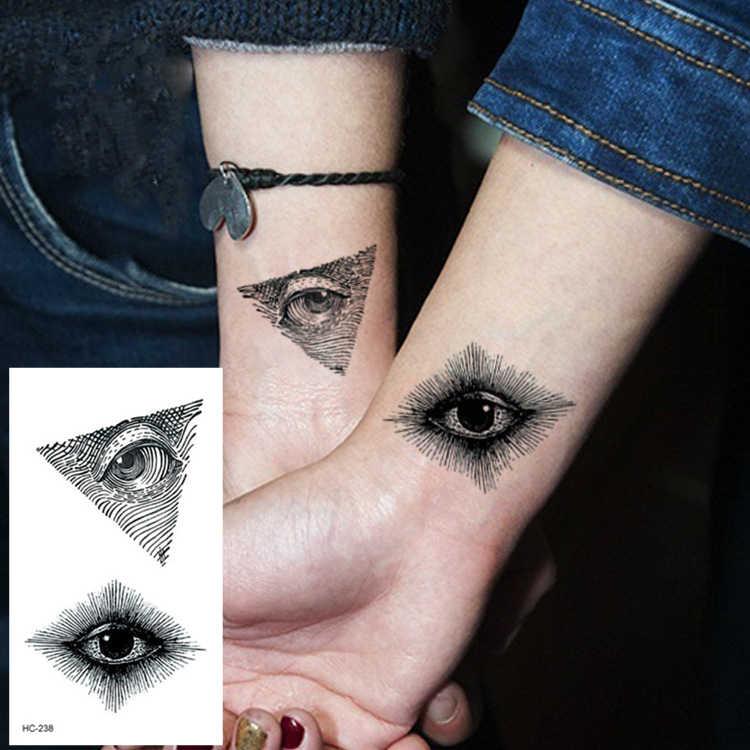 Tatuagem temporária falsa adesiva feminina, olho de baleias com desenho de flor, raposas e baleias na cor preta, 1 peça tatuagem falsa adesiva