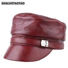 SHALUOTAOTAO Winter Trend Women Genuine Leather Hat Fashion Personality Cowhide Military Hats Elegant Noble Lady Brands Flat Cap