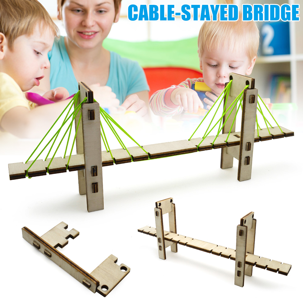 Hot Sale DIY Wooden Cable-stayed Bridge Model Science Experiment Children DIY Assembly Educational Toy