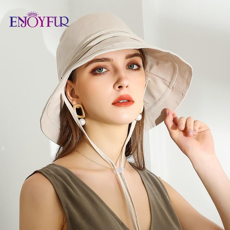 ENJOYFUR Women Cotton Summer Sun Hats Wide Brim Foldable Fashion Beach Hat Adjustable Lace-up UV Sun Protection Female Cap New