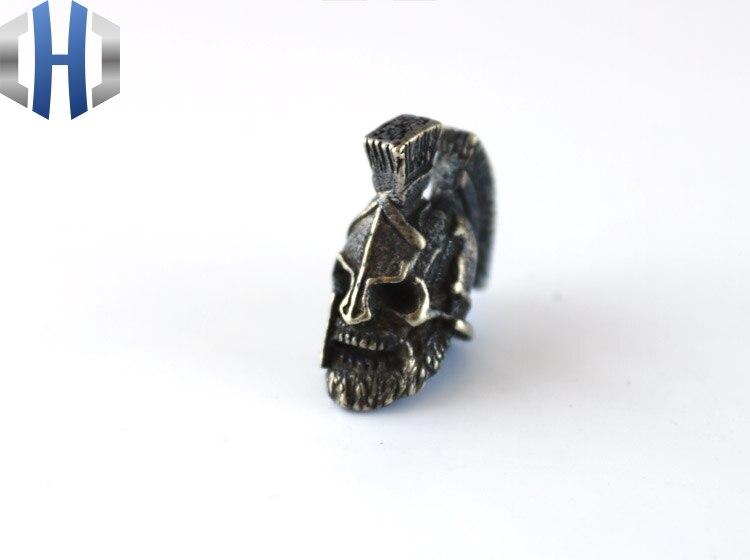 EDC Knife Beads Brass Mask Skull Lanyard Bead Paracord Knife Keychain Tool DIY Pendant