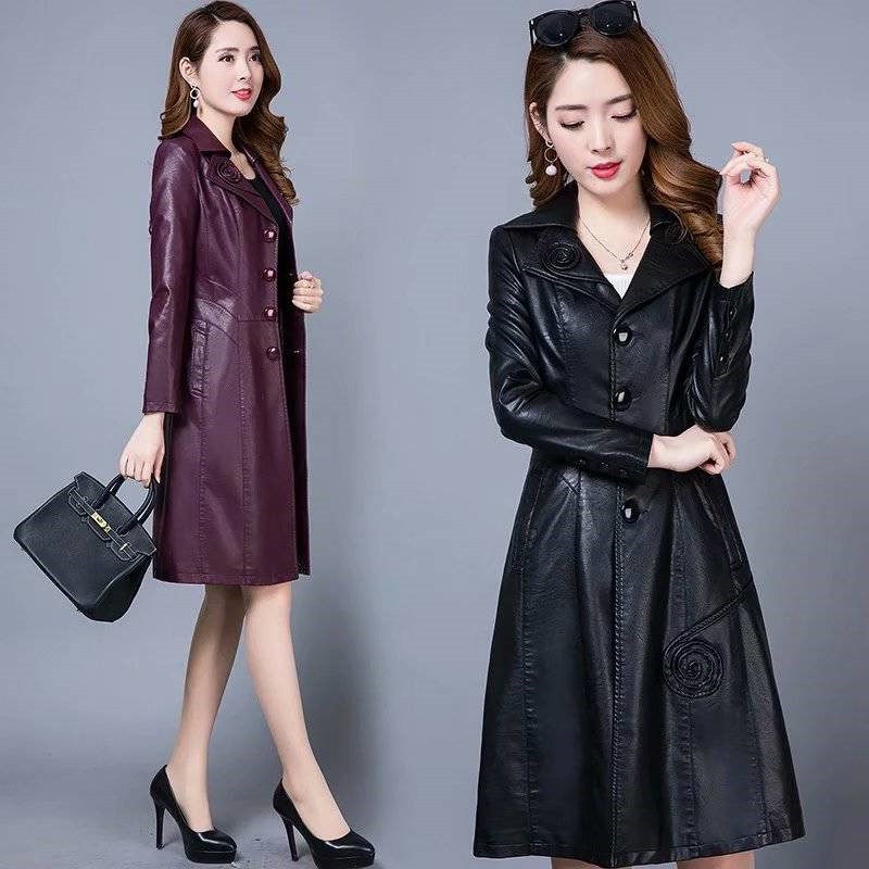 XL-8XL Slim PU   Leather   Jacket Women Long Coat 2019 New Korean Fashion Plus Size Autumn Embossing   Leather   Windbreaker Women f1874