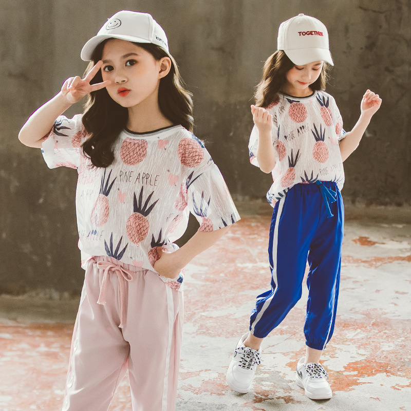 Girls Clothes Set Pineapple T-shirt + Casual pants 2PCS Girl Summer Clothing Set Fashion Kids Girls Clothes <font><b>6</b></font> <font><b>10</b></font> <font><b>12</b></font> 13 14 Year image
