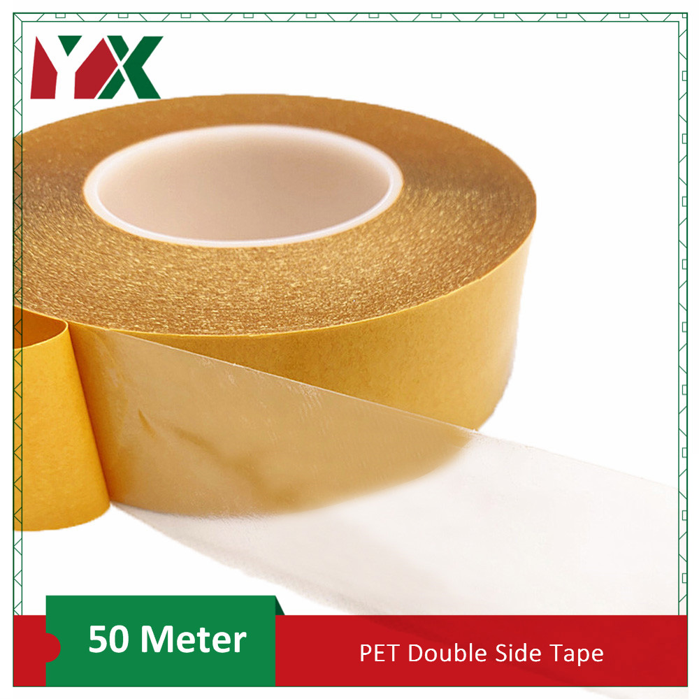 50 Meter High Temperature Resistance PET Double Sided Tape No Trace Transparent Heat Resistant Strong Double-Sided Adhesive Tape