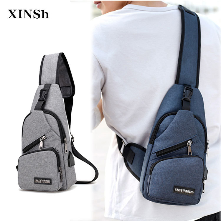 Men Chest Pack Multi-functional USB Shoulder Bag Canvas Chest Bag MEN'S Shoulder Bags Outdoor Backpack