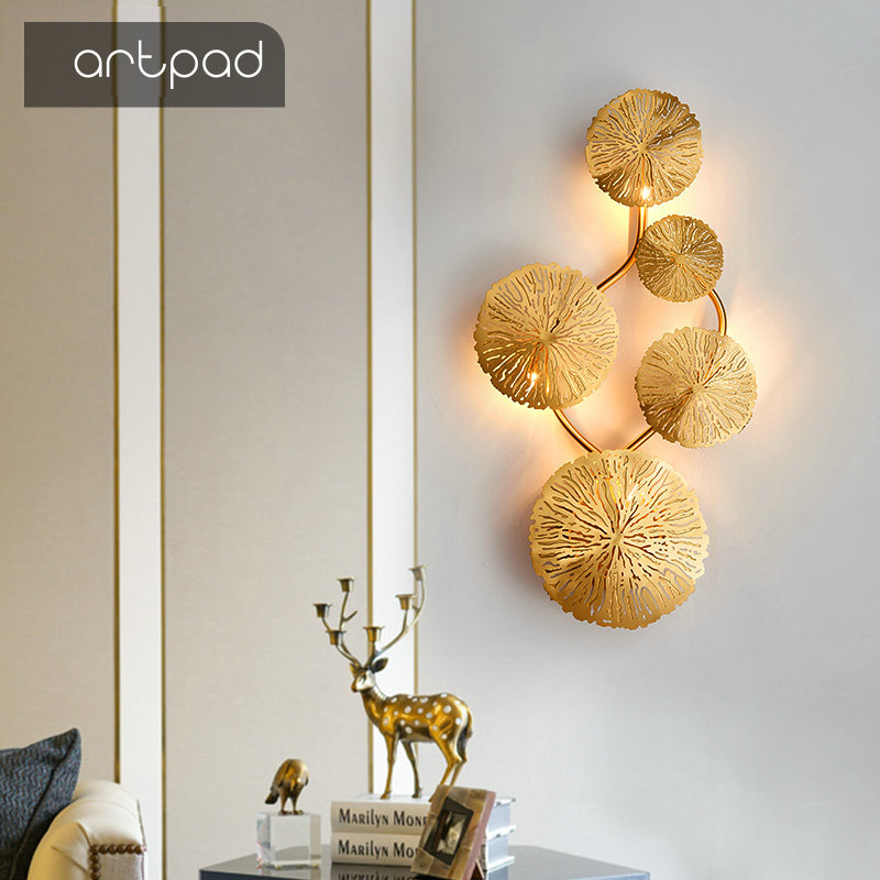 Artpad Copper Lustre Lotus Leaf Wall Lamp Vintage Retro LED Bedside Living Room Decorative Home Lighting Wall Sconces G4 Bulb