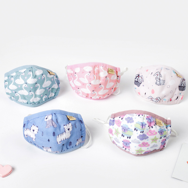 1PC Cotton Soft Baby Anti Dust Mask Washable Cute Lovely Animal Mouth Mask Reusable For 0-3 Years Old Baby 120x180mm